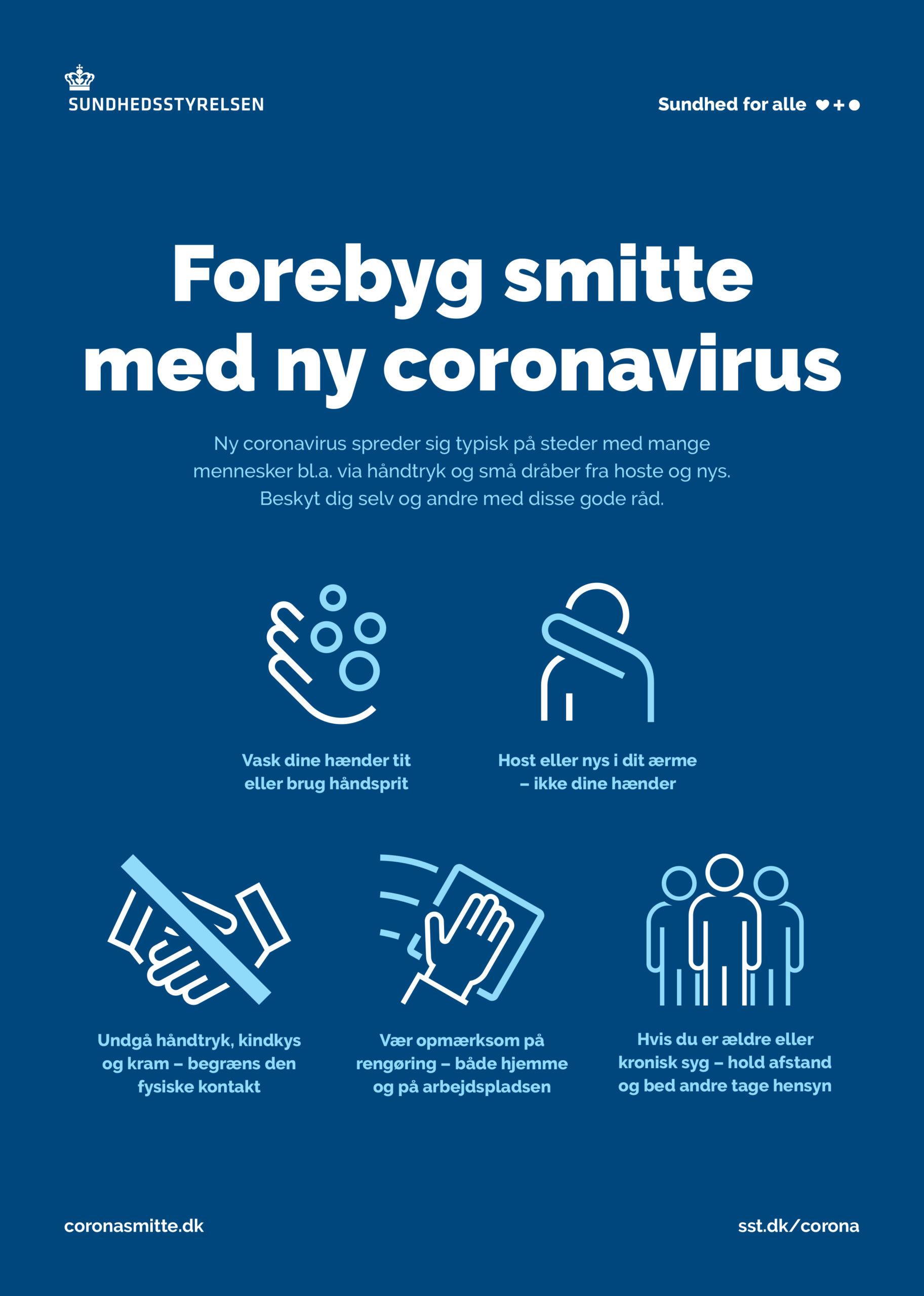 Forebyg smitte med corona virus